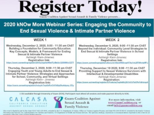 2020 kNOw More Webinar Series: Engaging the Community to End Sexual Violence & IPV - Dec 2, 3, 9, 10, 2020