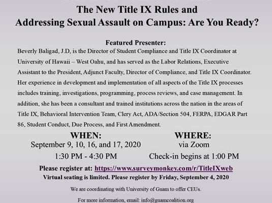 2020 kNOw MORE Webinar: The New Title IX– Sept 9, 10, 16 & 17, 2020
